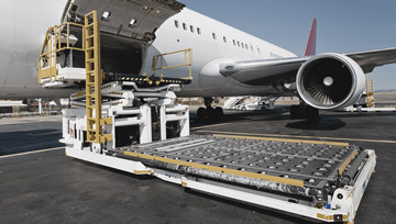 FMC loading and unloading pallets and containers from wide body aircraft