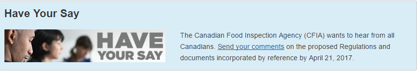 Canadian Food Safety CFIA Proposed Regulations 2017