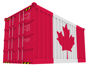 Canada flag on a shipping container